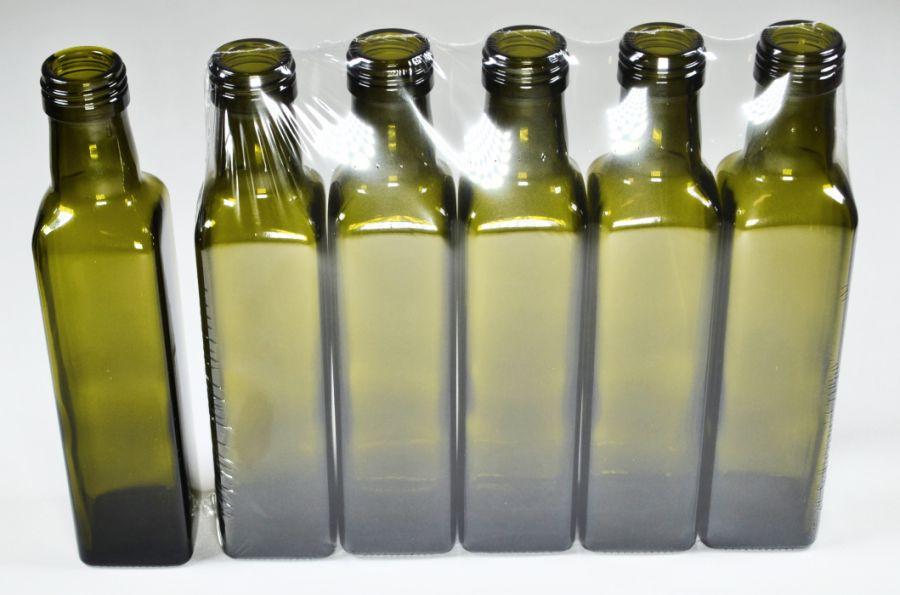 Láhev 0,25l MARASCA oliva, šroubení SOUDEK, sklo (5ks)