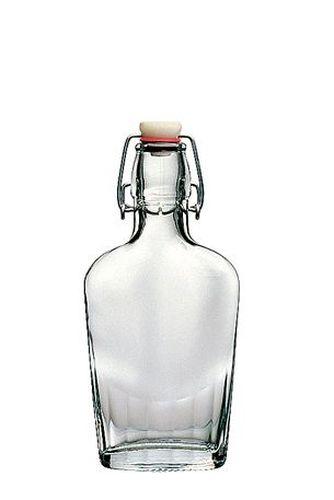 Láhev 0,25l placatka, patent.uzávěr, sklo