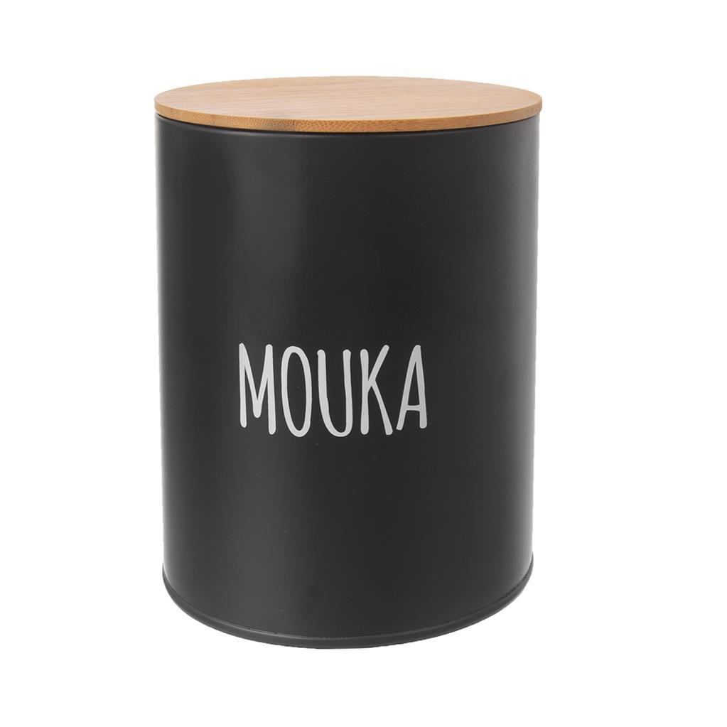 Dóza plech. d13x17,5cm, MOUKA, BLACK, plech/bambus