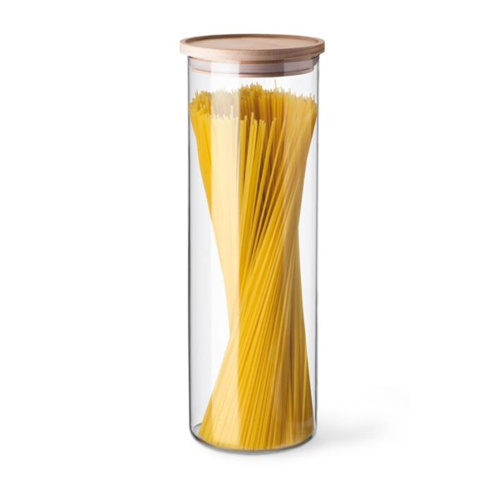 Dóza 1,80l, d96x290mm, sklo, na špagety-dřev.víko SIMAX