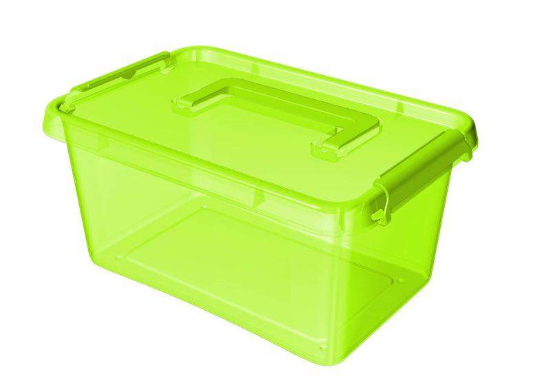 Box  4,5 l 29x20x12cm,rukojeť,zelený tr.plast