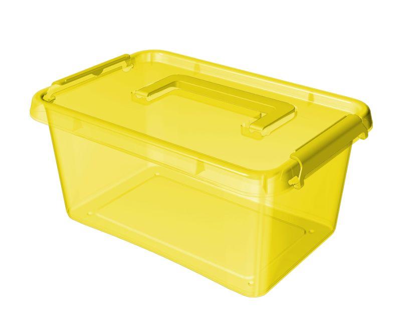 Box  4,5 l 29x20x12cm,rukojeť,žlutý tr.plast