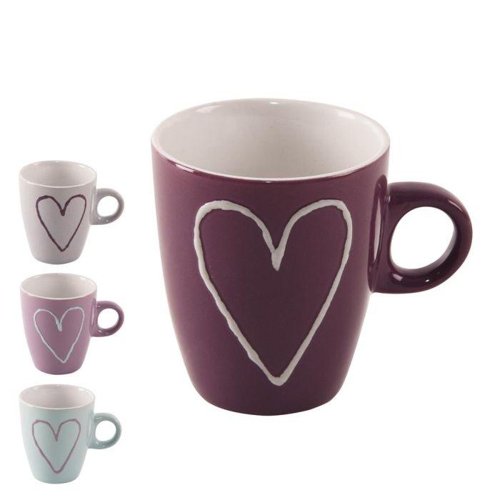 Hrnek 230ml SRDCE-Heart (1ks), 4 barvy, keramika