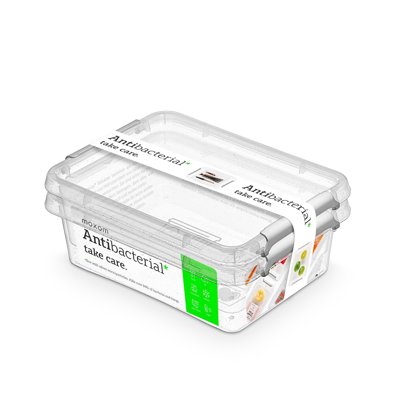 Antibakteriální box  1,15 l 2ks 19,5x15x6cm,transp.plast