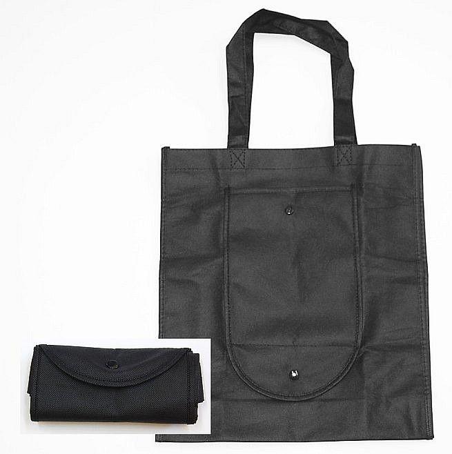 Taška nákup. 11l, 36x10x32cm, černá, sklád., textil