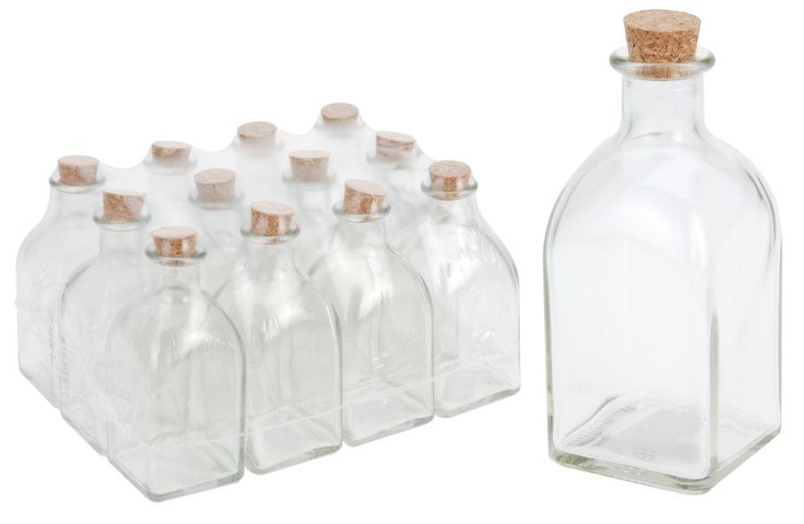 Láhev 0,25l hranatá+kork.zátka, olej/ocet, sklo (1ks)