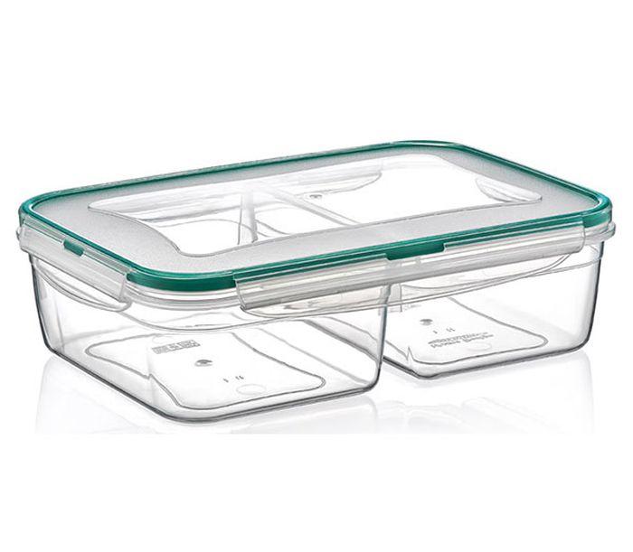 Box  2,0 l FRESH dělený(2x1,0l),klick 24x17x7cm,transp.plast