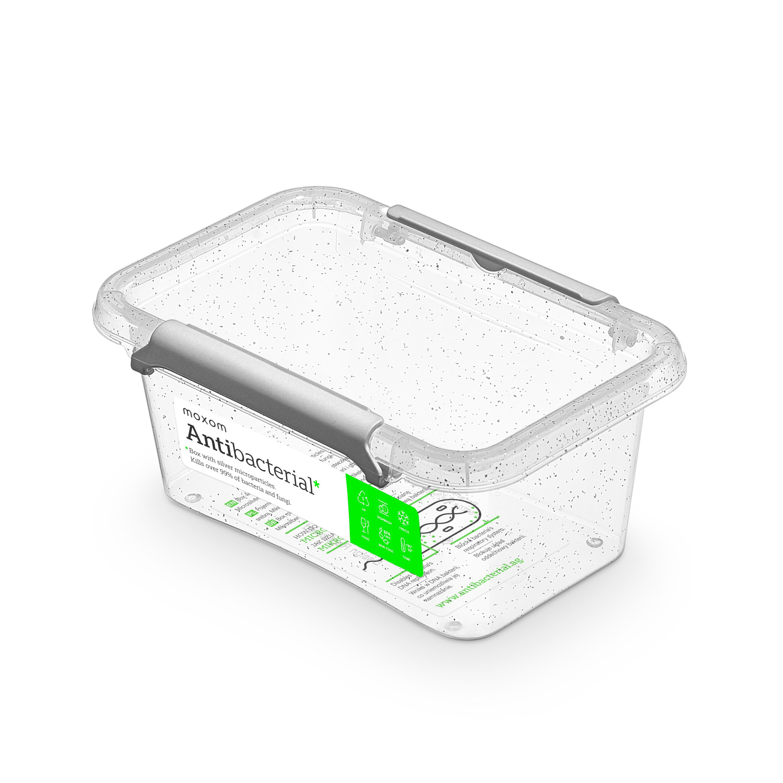 Antibakteriální box  0,50 l 15x9,5x6,5cm,transp.plast