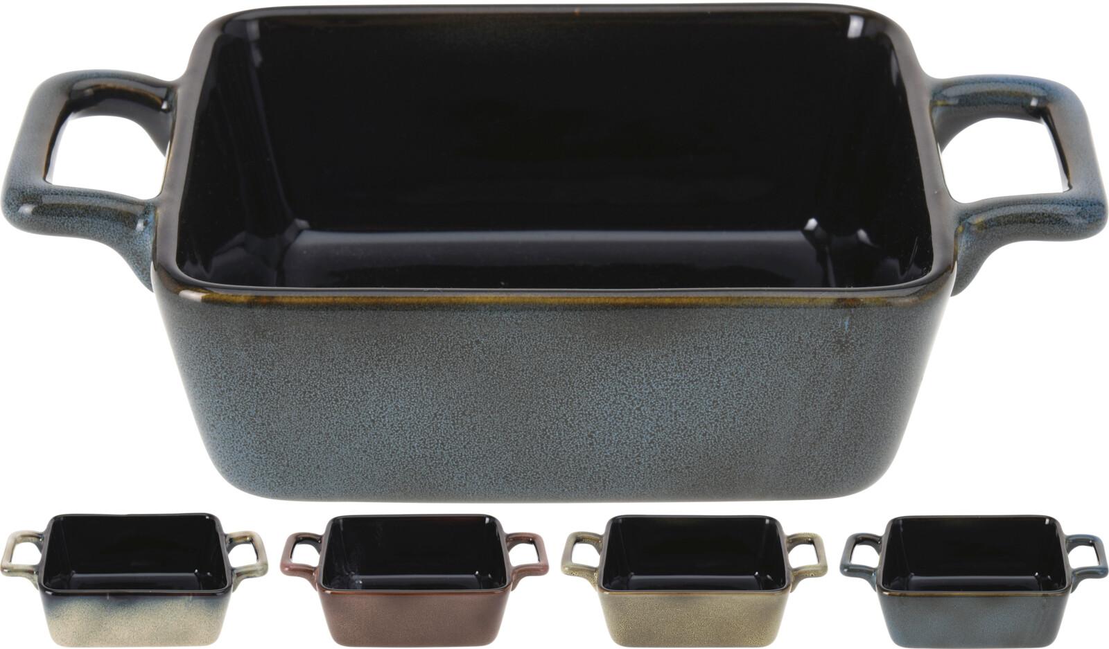 Miska 13,5x11,5x5cm, 2ucha, mix barev,zapék., keramika