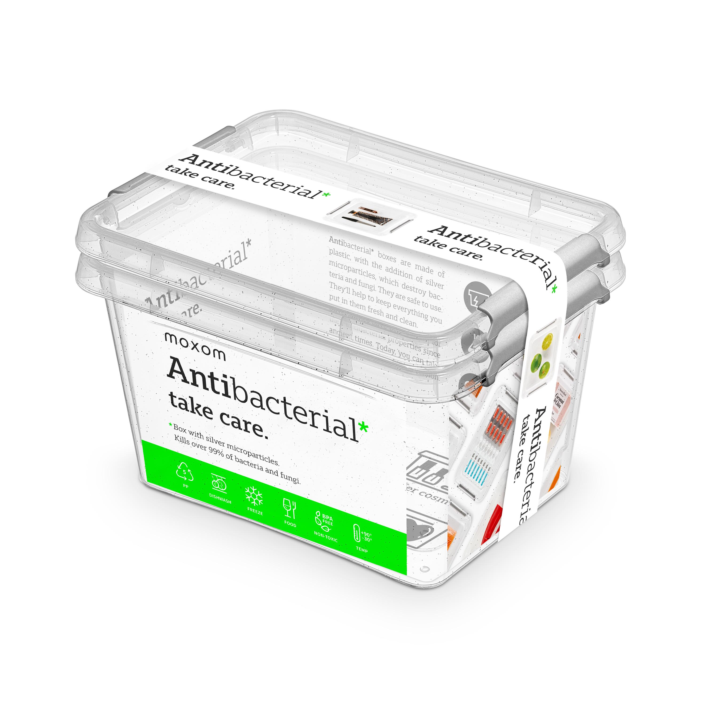 Antibakteriální box  2,0 l 2ks 19,5x15x11cm,transp.plast