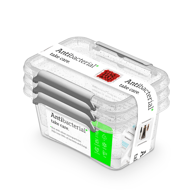 Antibakteriální box  0,50 l 3ks 15x9,5x6,5cm,transp.plast