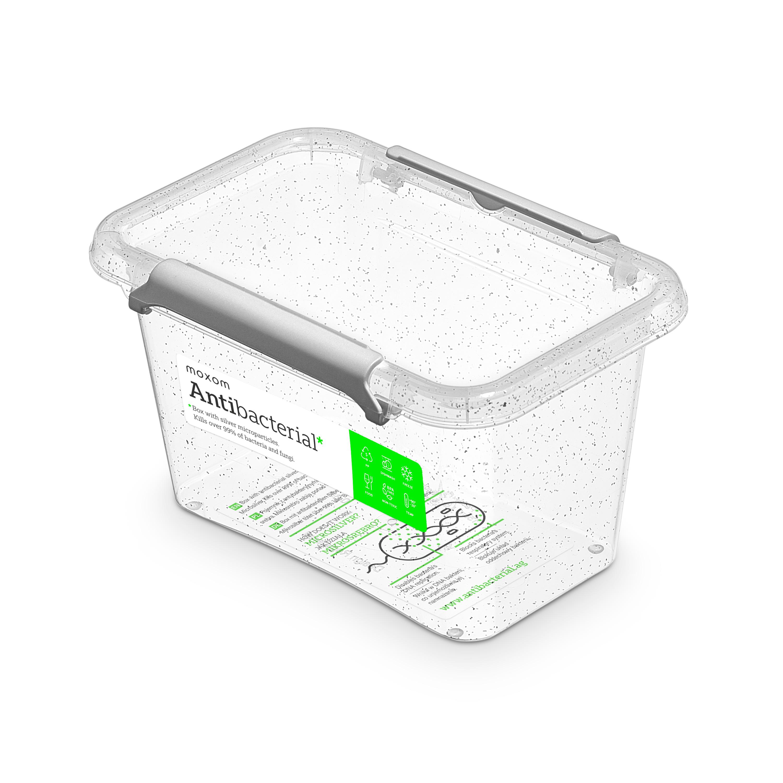 Antibakteriální box  0,65 l 15x9,5x8,5cm,transp.plast