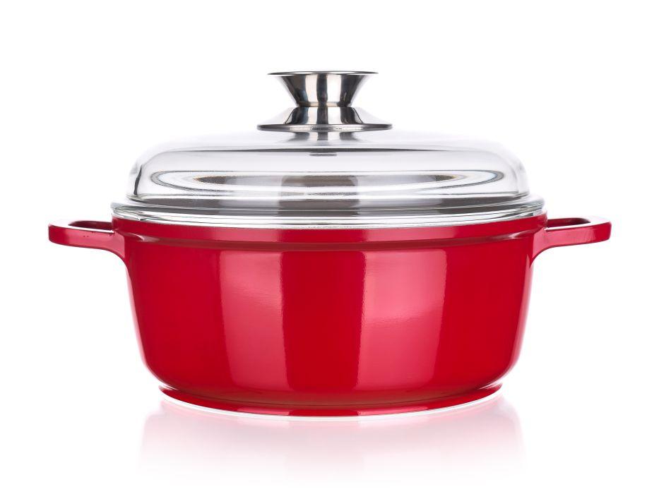 Rendlík+PO d24cm,4,2l MADEIRA červený,ker.pov.,indukce