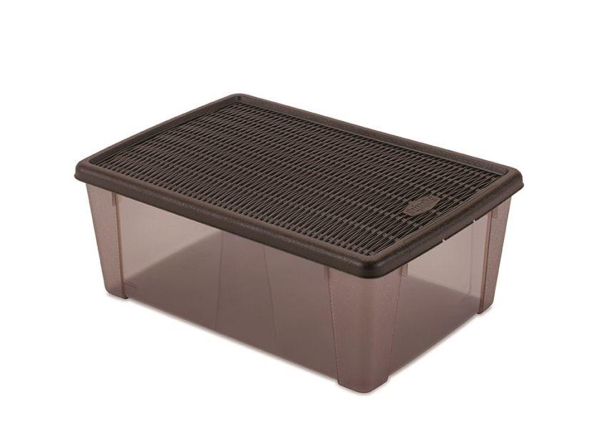 Box 10,0l+víko 36,5x25,5x14cm hnědý ELEGANCE-L, plast