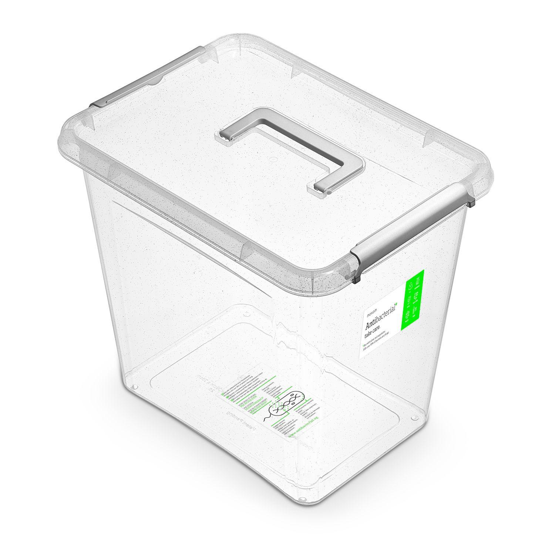 Antibakteriální box 30,0 l 39x29x35cm,rukojeť, transp.plast