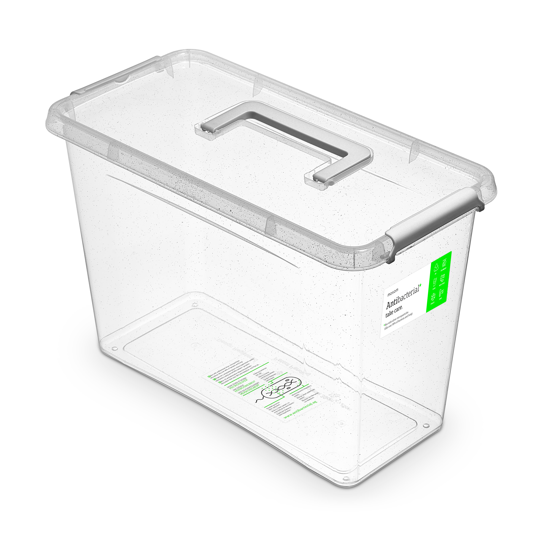 Antibakteriální box 13,0 l 40x20x26cm,rukojeť,transp.plast