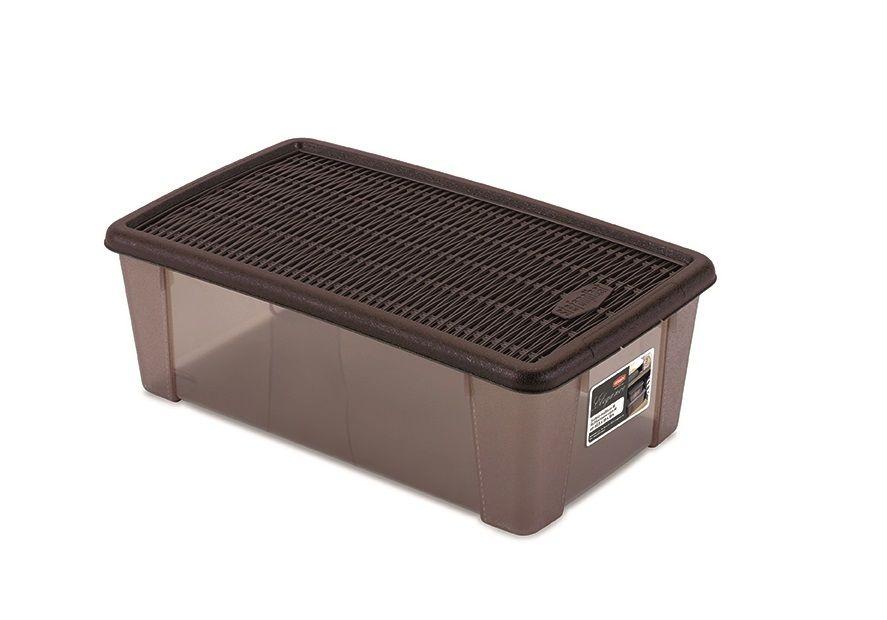 Box  5,0l+víko 32,5x19x11cm hnědý ELEGANCE-M