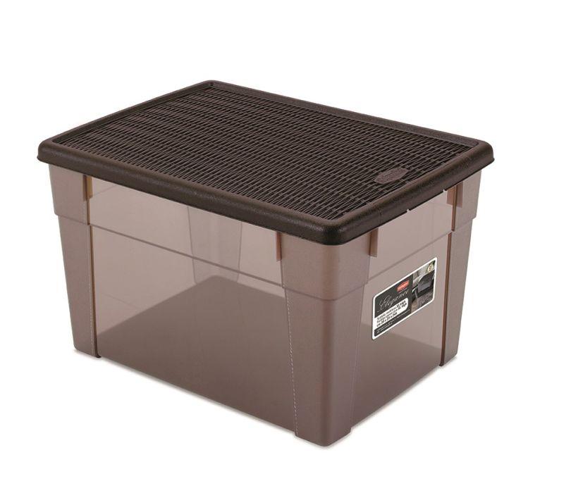 Box 20,0l+víko 39x29x24cm hnědý ELEGANCE-XLhigh