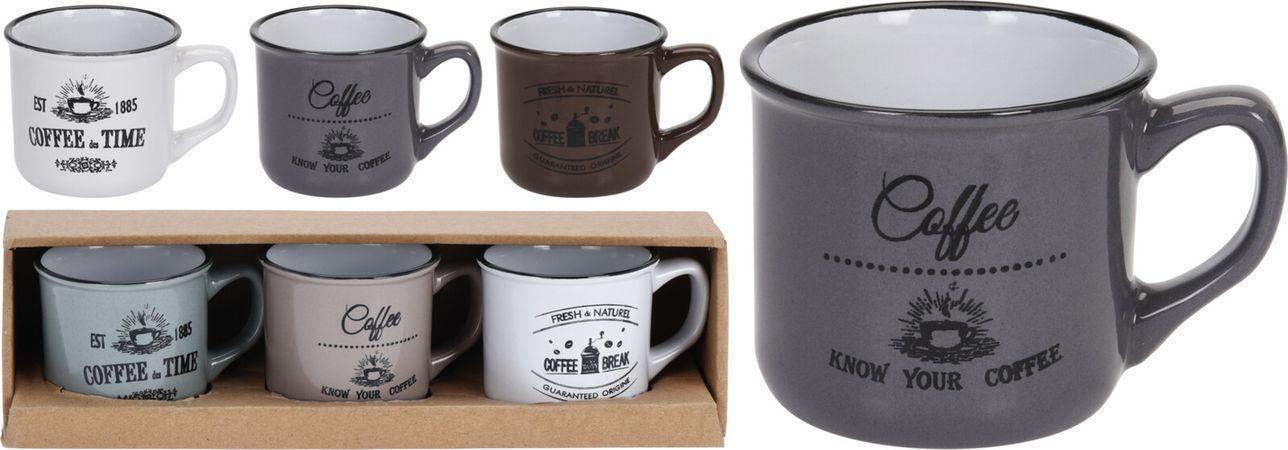Hrnek 180ml-3ks-COFFEE, 3barvy, keramika