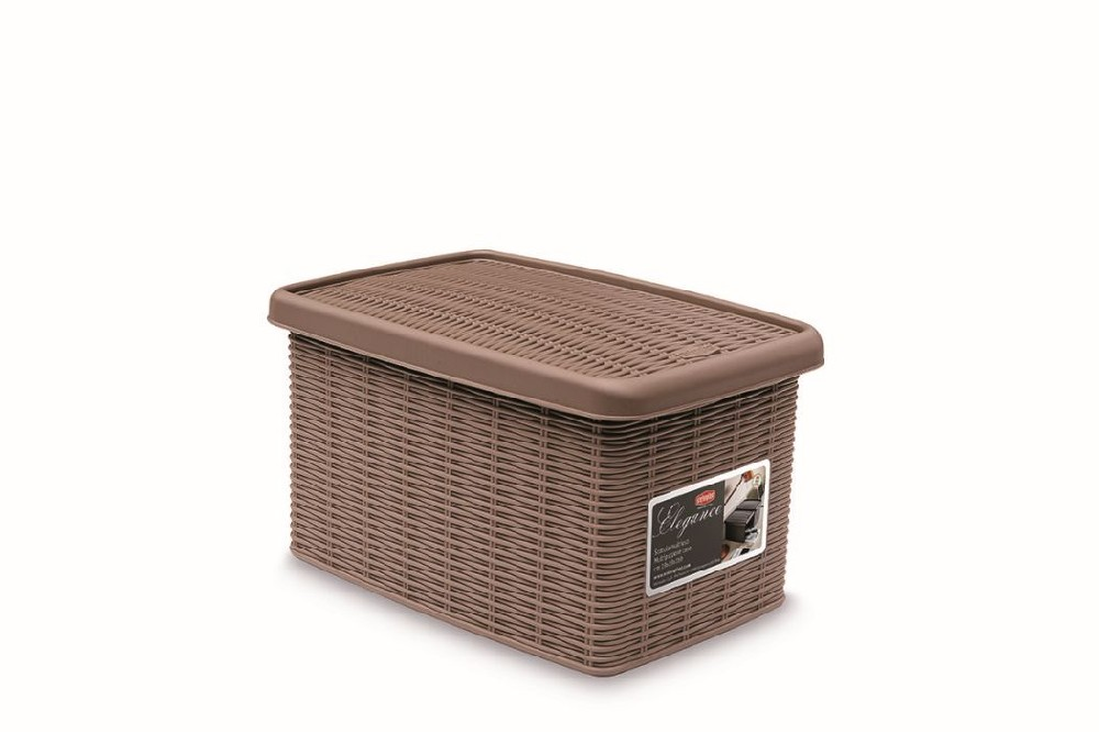 Box  5,5l+víko 29x19x16cm sv.hnědý ELEGANCE-S