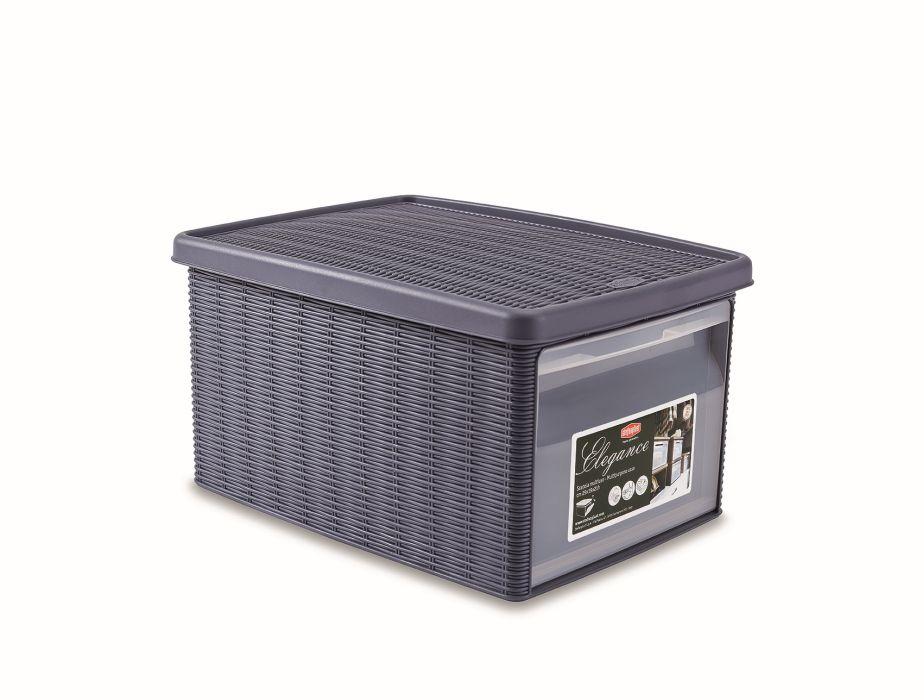 Box 15,0l+víko z boku 39x29x21cm tm.modrý ELEGANCE-M