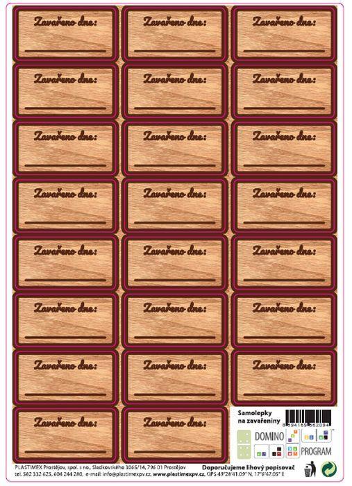 Etikety ZAVAŘENO (23ks)-im.Dřevo, obd.samolepky
