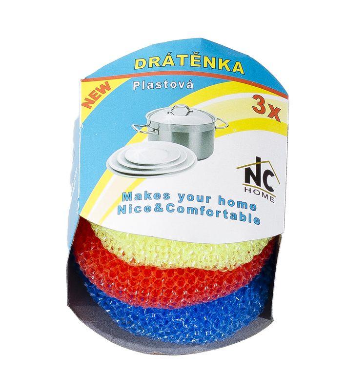 Drátěnka, sada 3ks, Mix barev, plast 8g