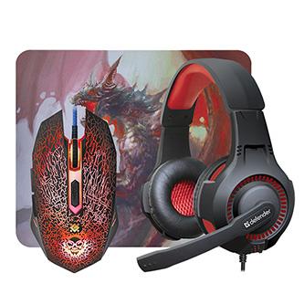 Defender Sada myši Dragonborn MHP-03, 3200DPI, optická, 6tl., 1 kolečko, drátová USB, černá, s herními sluchátky a podložkou, pods