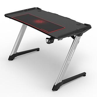 ULTRADESK Herní stůl RACER, 120X64 cm, 77 cm, RGB podsvícení, se 4 XXL podložkami pod myš, s 2 háky pro sluchátka