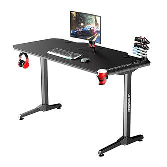 ULTRADESK Herní stůl FRAG - BLACK, 140x66 cm, 76 cm, s XXL podložkou pod myš, s ultradesk BEAM, držák sluchátek i nápojů