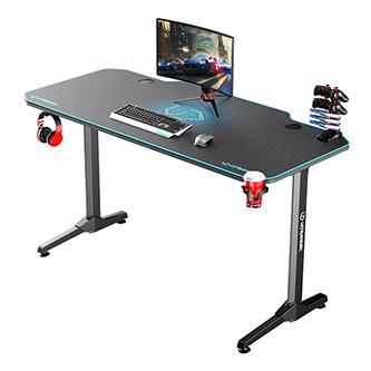 ULTRADESK Herní stůl FRAG - BLUE, 140x66 cm, 76 cm, s XXL podložkou pod myš, s ultradesk BEAM, držák sluchátek i nápojů