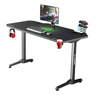 ULTRADESK Herní stůl FRAG - GREEN, 140x66 cm, 76 cm, s XXL podložkou pod myš, s ultradesk BEAM, držák sluchátek i nápojů