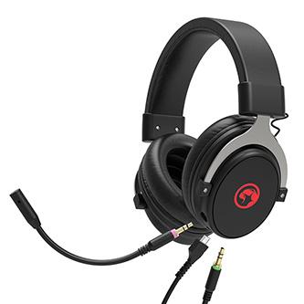 Marvo HG9052, sluchátka s mikrofonem, ovládání hlasitosti, černá, červeně podsvícená, 7.1 (virtuálně) typ USB
