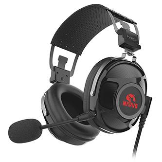 Marvo HG9053, sluchátka s mikrofonem, ovládání hlasitosti, černá, červeně podsvícená, 7.1 (virtuálně) typ USB