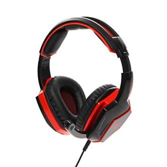 RED FIGHTER H2 herní sluchátka s mikrofonem, ovládání hlasitosti, černo-červená, 2x 3.5 mm jack