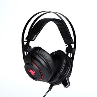 RED FIGHTER H3, sluchátka s mikrofonem, ovládání hlasitosti, černo-červená, herní, podsvícená, 2x 3.5 mm jack + USB