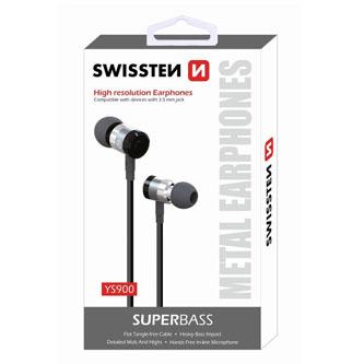 SWISSTEN YS900, sluchátka s mikrofonem, bez ovládání hlasitosti, černá, špuntová typ 3.5 mm jack